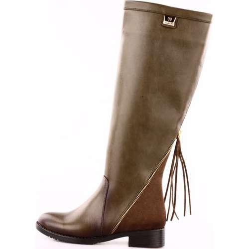 De Scario 223 Kadın Arkası Püsküllü Fermuarlı Knee High Çizme