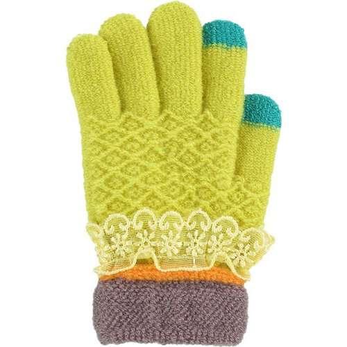 Kitti Kız Çocuk Kışlık Eldiven Örme 3-6 Yaş Kalın Örgü Limon Yeşili K6334