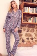 Kadın Pembe Uzun Kolu Pijama Takımı