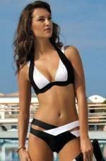 Kadın Siyah Beyaz Özel Tasarım Bikini Takımı