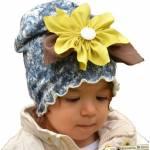 Babygiz Papatya Aksesuarlı Batik Desenli Şapka