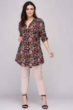 Kadın Mor Çiçek Desenli Gömlek-Tunik