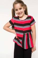 Kırmızı Kız Çocuk Baskılı Bluz