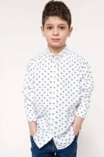 Beyaz Erkek Çocuk Polo Yaka Uzun Kollu Gömlek