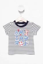 Beyaz Erkek Bebek Baskılı Omuzda Çıtçıt Detaylı T-Shirt
