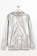 Gümüş Kız Çocuk Kız Çocuk Kapşonlu Yağmurluk