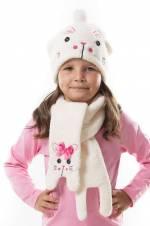 Pembe Beyaz Kız Çocuk Pofidik Tavşan Atkı Bere Takım