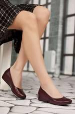 Hakiki Deri Bordo Kadın Dolgu Topuklu Ayakkabı