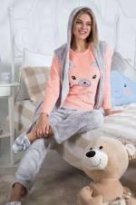 Yavru Ağzı Kadın 3'lü Ultra Welsoft Pijama-Yelek Takım