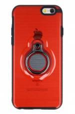 Eiroo Ring Flug iPhone 6 Plus / 6S Plus Selfie Yüzüklü Kırmızı Rubber Kılıf