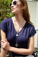 Kadın Mix Ay Taşı Doğal Taşlı Madalyon Kolye Nc99563