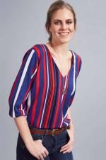 Kadın Mix Çizgili V Yaka Bluz
