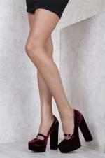 Bordo Kadıfe Kadın Klasik Topuklu Ayakkabı ILVI.MİN.1001.008.00113