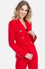 Kadın Kırmızı Altın Düğmeli Blazer Ceket