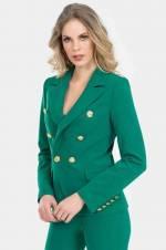 Kadın Yeşil Altın Düğmeli Blazer Ceket