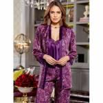 Jeremi 2857 Saten Desenli Üçlü Pijama Takımı