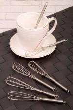 6'lı Çırpıcı Şekilli Çelik Çay ve Kahve Karıştırıcı CİRPİCİ-KASİK
