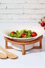 Bambu Standlı ve kaşıklı Porselen Salata Kasesi