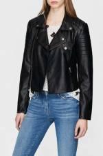 Kadın Fermuarlı Siyah Ceket
