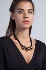 Kadın Altın Kaplama Top Figürlü Çoklu İp Kolye