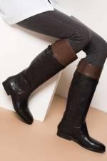 Hakiki Deri Siyah Taba Kadın Çizme