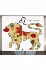 Aslan Burcu Temalı Fon Perde Astroloji Trend 145 x 270 cm