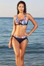 Kadın Desenli Önü Sürgülü Toparlayıcı Bikini Takımı