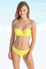 Sarı Kadın Straplez Kaplı Bikini Tak Çıkar(Push Up'Lı)