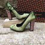 Shop and Shoes Bayan Ayakkabı Yeşil Kadife 155-511