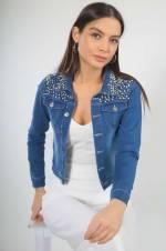 Kadın Koyu Mavi Yakası Ve Omuzları İncili Kot Ceket