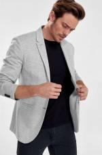 Gri Melanj Erkek Ceket - Pike Kumaş