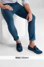 Hakiki Süet Deri Mavi Erkek Loafer Ayakkabı - Püsküllü