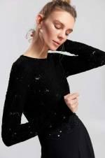 Siyah Payet Detaylı Abiye Elbise