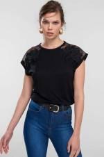 * Yeni* Siyah Omuzları Dantel ve Güpür Detaylı Örme Bluz