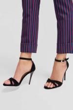 Siyah Çapraz Bantlı Kadın Topuklu Ayakkabı