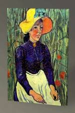 Vincent Van Gogh-Young Peasant Woman with Straw Hat Sitting in the Wheat - 75X50