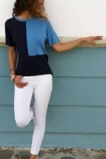 Kadın Lacivert-Mavi Bloklu Bluz