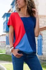 Kadın Lacivert-Mercan Üç Bloklu Bluz