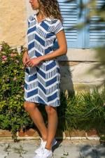 Kadın Lacivert-Desenli Polo Yaka Elbise