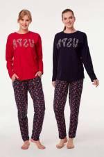 Kırmızı Kadın Şalvar Pijama Takım