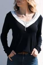 Kadın Lacivert & Gri & Ekru Bloklu Bluz