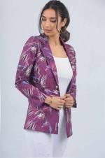 Kadın Mor Tek Düğmeli Çizgi Desen Ceket