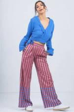 Kadın Mor Çizgi Desenli Bol Pantolon