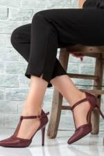 Bordo Kadın Topuklu Ayakkabı