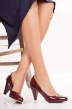 Bordo Rugan Kadın Topuklu Ayakkabı