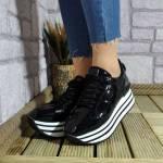 Siyah Rugan Spor Ayakkabı Kadın Yüksek Taban Parlak Sneakers