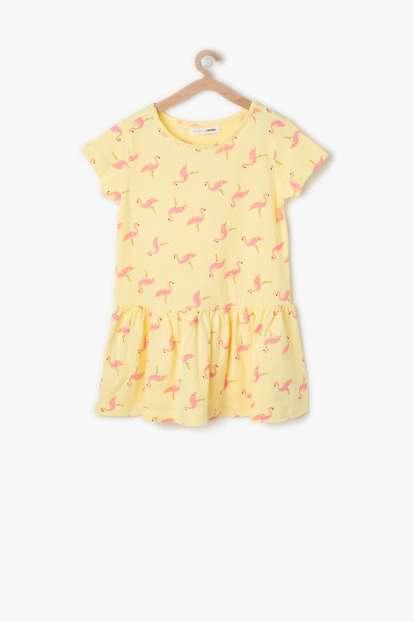 Sarı Desenli Kız Çocuk Elbise