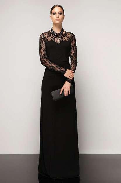 8e813865ddfcc Abiye Elbise Modelleri-Kadın Siyah Astarlı Dantel Detaylı Abiye ...